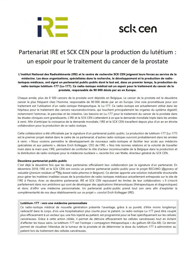 IRE and SCK CEN Partnership on lutetium-177production