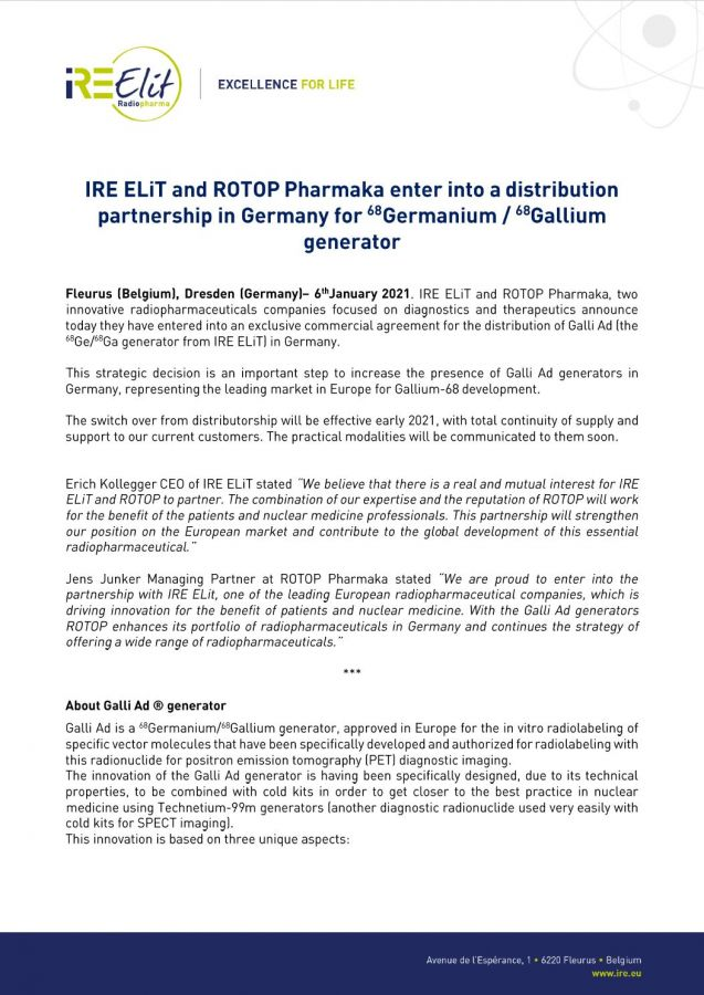 IRE ELiT and ROTOP Pharmaka enter into a distribution partnership in Germany for Germanium-68/Gallium-68 generator